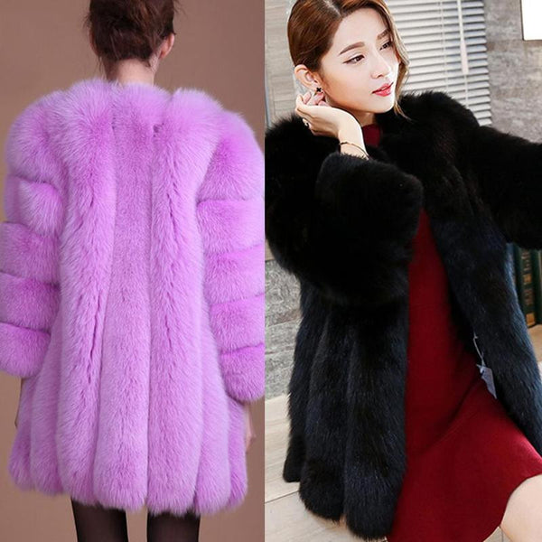 New Womens Winter  Fox Imitation Fur Coat  Artificial fur Coat