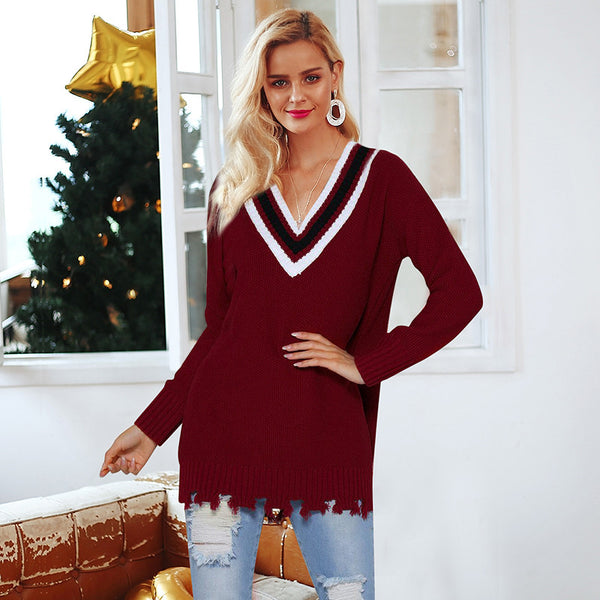 Simplee Contrast color v neck knitted sweaters Long sleeve casual women sweaters and pullover 2018 Autumn winter fringed jumpers
