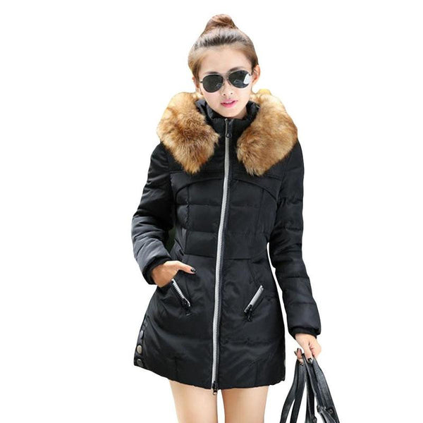 Women Fashion Long Sleeve Fur Coat Winter Warm Down Jacket