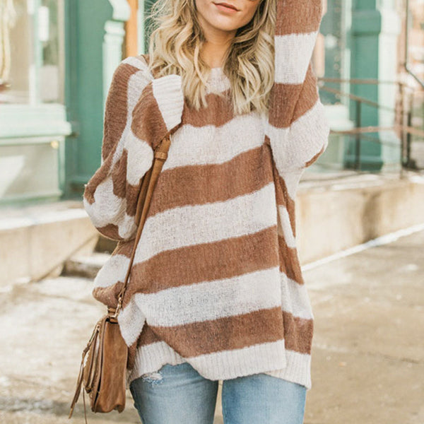 Conmoto Harajuku Winter Sweater For Women Stripe Batwing Oversize Pullovers Charming Sweaters Casual Knitting Long Jumper