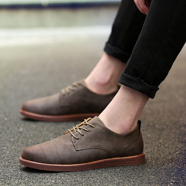 Men Fashion Lace Up Business Work England Casual Leather Shoes