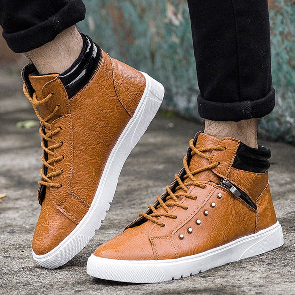 Men Fashion High top Men Casual Shoes Breathable Canvas Man Lace-up Shoes