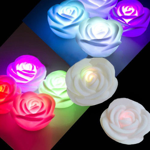7 Color Changing Rose Flower LED Night Light Candle Xmas DIY Decorate Tea Lamps