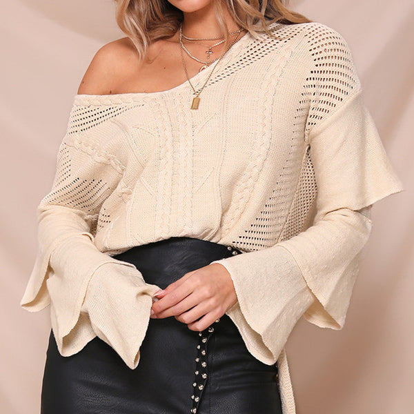 Simplee V-neck women sweaters Layered ruffled sleeves pullover and sweaters Side splits jumper fashion 2018 autumn pullover