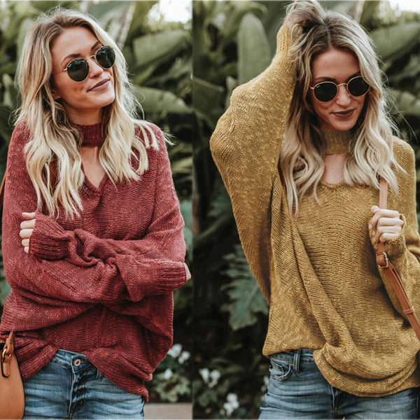 Women Long Sleeve Winter sweatershirt Loose Solid Sweater