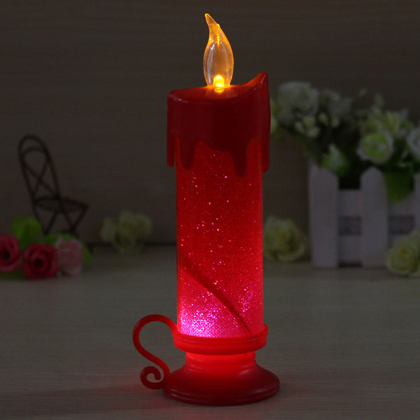 LED Colour Changing Flameless Flickering Glitter Powder Candle Light Decoration