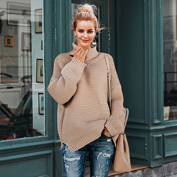Simplee Drop sleeve turtleneck pullovers and sweaters Women casual jumpers 2018 autumn winter women knitted sweaters