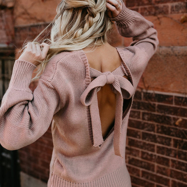 Conmoto Bow Backless Long Lantern Sleeve Autumn Winter Knitted Sweater Pink Sexy Elegant Pink Sweater Jumper 2018 Women Pullover
