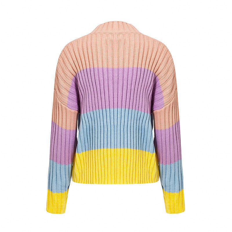 Simplee Fahsion maccaron color rainbow sweater Elegant batwing sleeve winter woman sweater knitted pullover 2018 Autumn jumpers