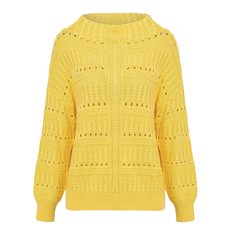 Simplee O neck hollow out knitted sweater Long sleeve solid women sweaters and pullovers 2018 Autumn winter slim fit jumpers