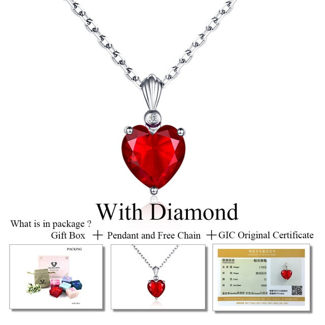 DOUBLE-R 925 Sterling Silver Emerald Necklace Sapphire Pendant Ruby jewelry heart Necklaces & Pendants for women silver 925