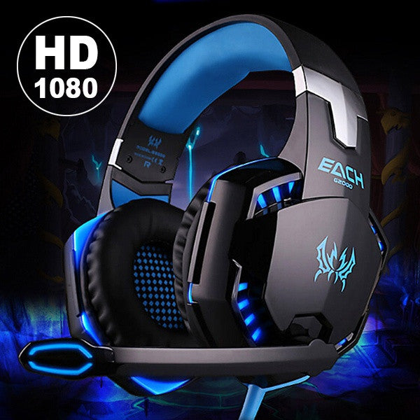 USB 3.5mm Gaming Game Headset LED Light Headband Headphone W/Mic For PC
