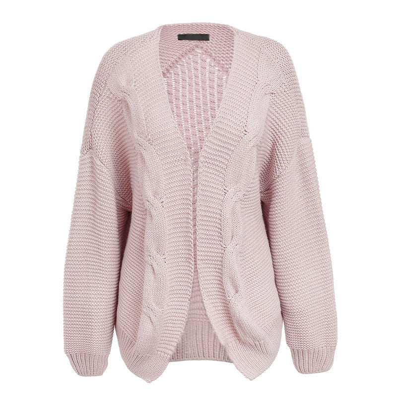 Simplee Elegant warm autumn winter sweater cardigan women Twist knitted winter sweater cardigan Casual autumn gery cardigan