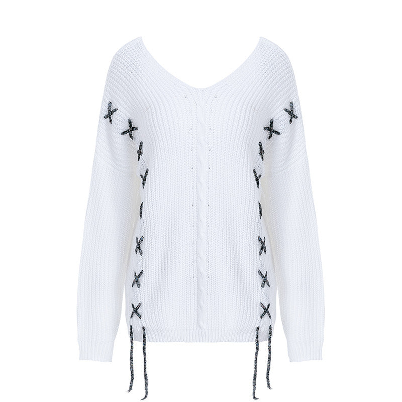 Glamaker White oversize lace up winter sweater Women loose autumn combine sexy pullover Female streetwear party sweater jumper