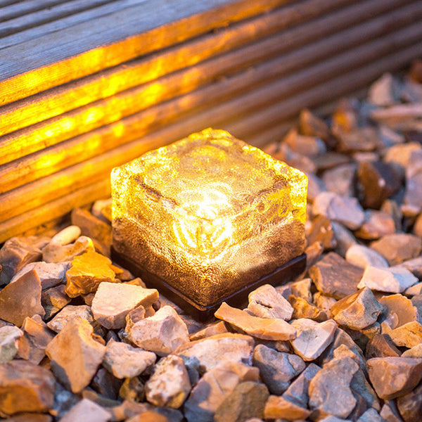 Decoration LED Lights - Waterproof Crystal Glass Brick Sensor Solar