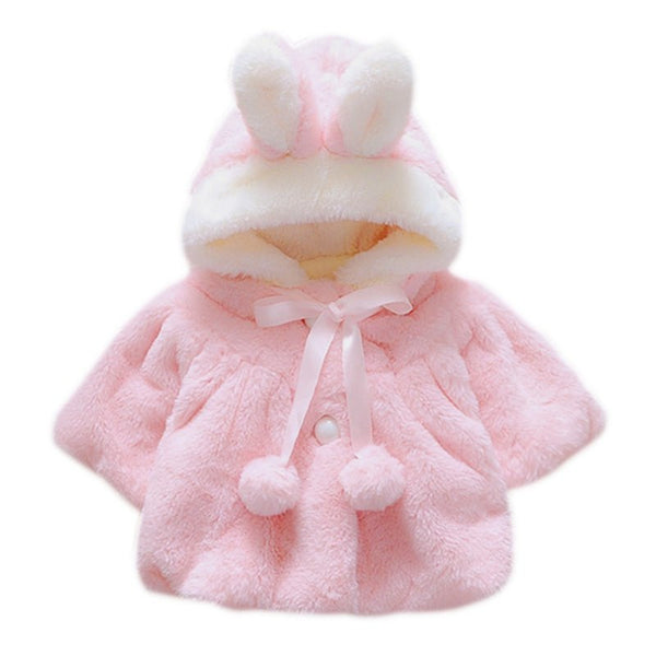 High Quality Baby Girls Cute Rabbit Ear&Bowknot Fur Ball Solid Soft Faux Fur Clothing Coat New Kids Winter Warm Cute Hooded Coat