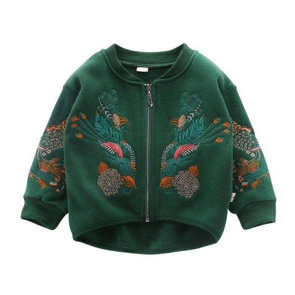 WEIXINBUY Baby Boys Girls Coat Winter Jacket Embroidered Long Sleeve Top Plus Cashmere Animals Coat For Kids Clothing