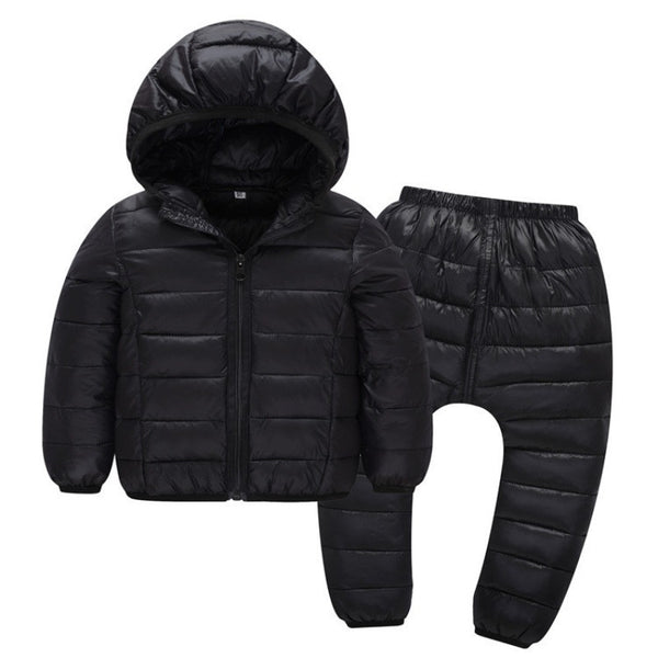 Kids Autumn Winter Baby Clothes Set Snowsuit 96% Cotton Warm Down Jackets+Pants For Girls Boys Coats Winter Park Outwear