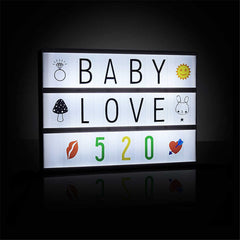 A4 118 Letters & Emoji Cinematic Cinema Light Up Card Box Sign Wedding Decor