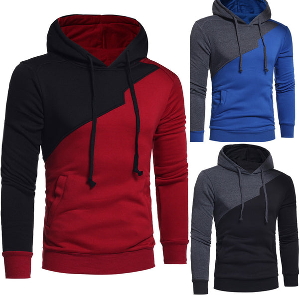 Mens' Long Sleeve Patchwork Hoodie Hooded Sweatshirt Tops Jacket Coat Outwear