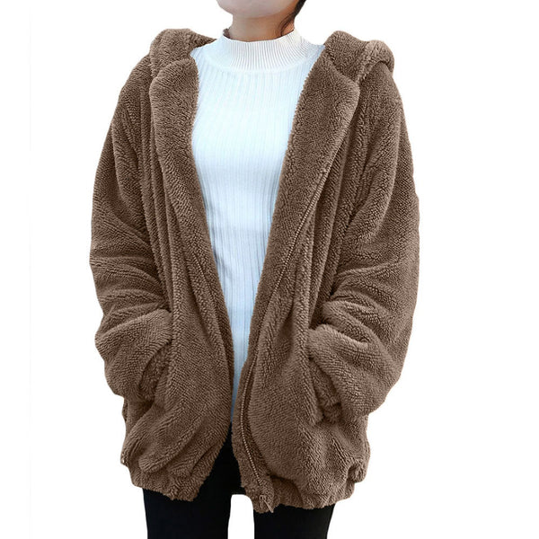 Hot Sleeve Girl Winter Loose Snapper Hoodie Rugged Jacket Cute Sweater Hoodie