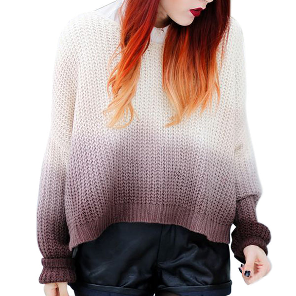 Women Gradient Color Sweater Pullover Loose Elastic  Jumper Knitwear Outwear