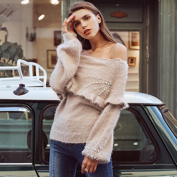 Simplee Elegant slash neck beading women sweaters Lantern sleeve pearl pullovers 2018 Autumn winter female ruffle sweater