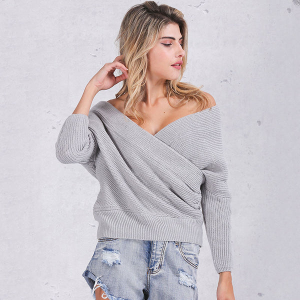 Simplee Fashion pullovers thick sweater women Autumn winter v neck batwing sleeve sweater Elegant loose white sweaters jumper