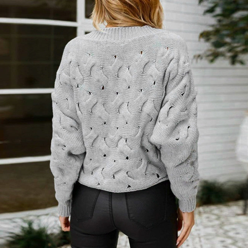 Conmoto O-Neck Sweater Women 2018 Autumn Winter Vintage Kintted Sweater Gray Solid Women Sweaters And Pullovers Casual Knitwear