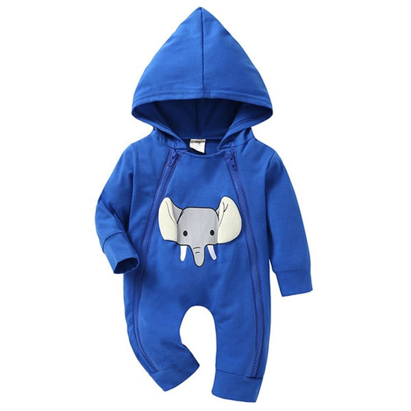 New Autumn Winter Cotton Infant Baby Elephant Print Zipper Clothes Baby Jumpsuit  Double Zipper Children's Romper
