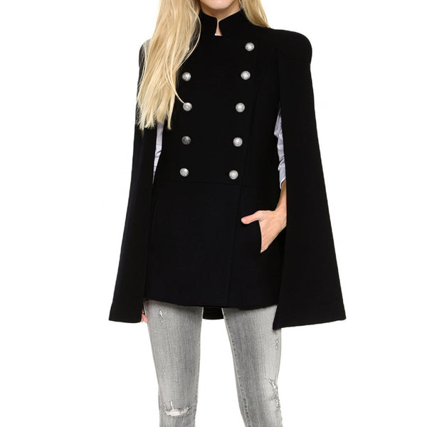New Winter Women Cape Cloak Double Breasted Irregular Hem Side Pockets Sleeveless Outwear Coat Black