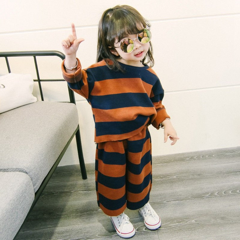 Autumn Winter Baby Girl Cotton Clothes Set Long Sleeve Casual Stripe Top Trousers