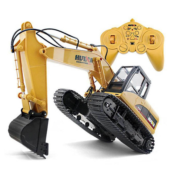 HuiNa Toys 15 Channel 2.4G 1/14 RC Excavator Charging RC Car With Battery RC Alloy Excavator RTR For kids