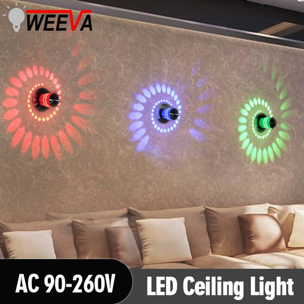 WEEVA Surface Mount Flush Balcony Corridors Lighting Modern LED Ceiling Light 3W RGB Porch Lamp  Fixture Living Room Decor