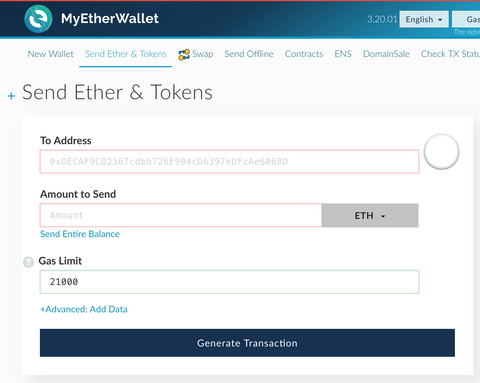 A screenshot of a transaction screen on MyEtherWallet