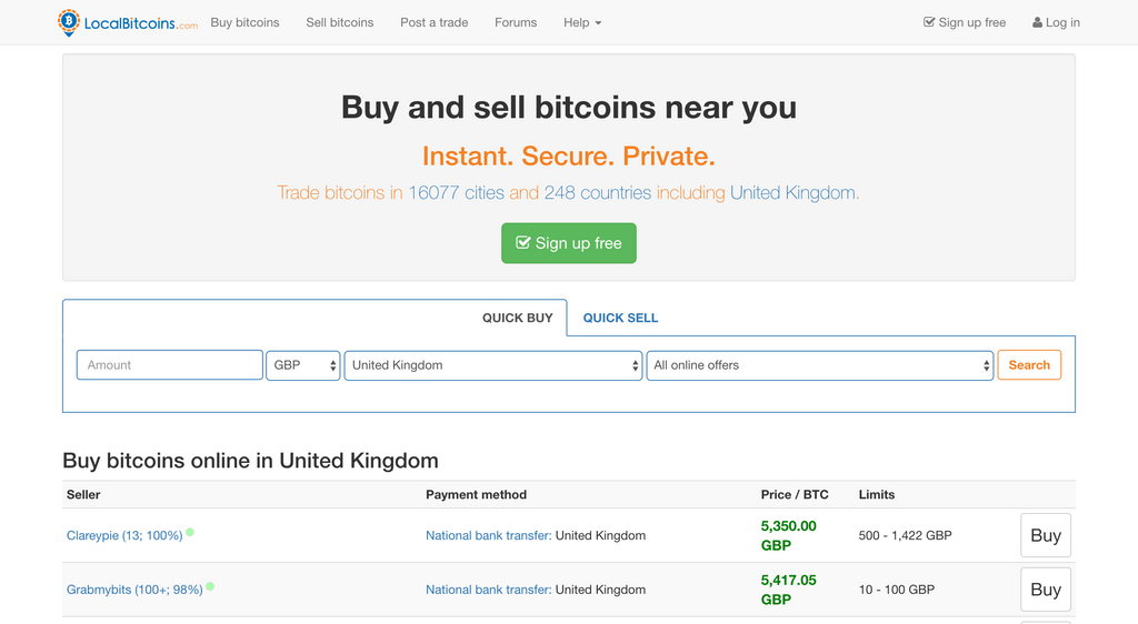 A screenshot showing a localbitcoins.com website for the Crypto Daddy article about how to withdraw cryptocurrencies back into fiat