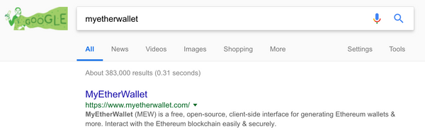Google showing no scammy crypto websites