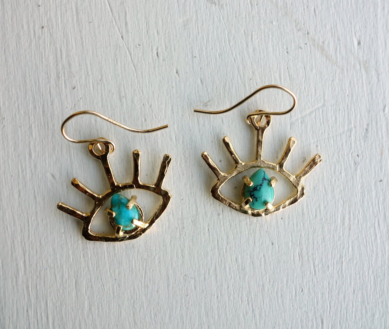 Gold Beholder Eye Earrings with Turquoise