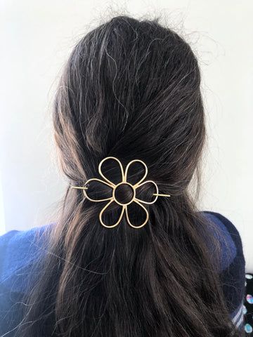 Flower Hair Side Set with Hair Pin and Big Brass Daisy