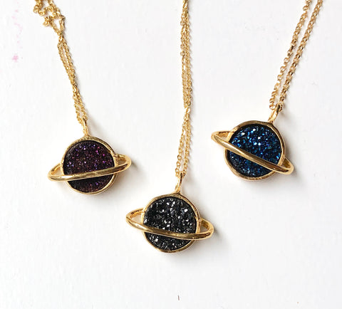 Gold Saturns with Druzy