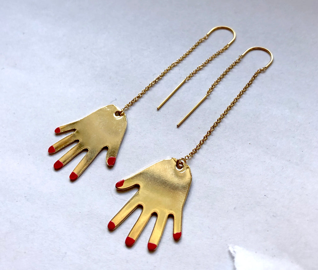 Painted Nail Hand Ear Threads Gold Fill Ear Thread Dangles