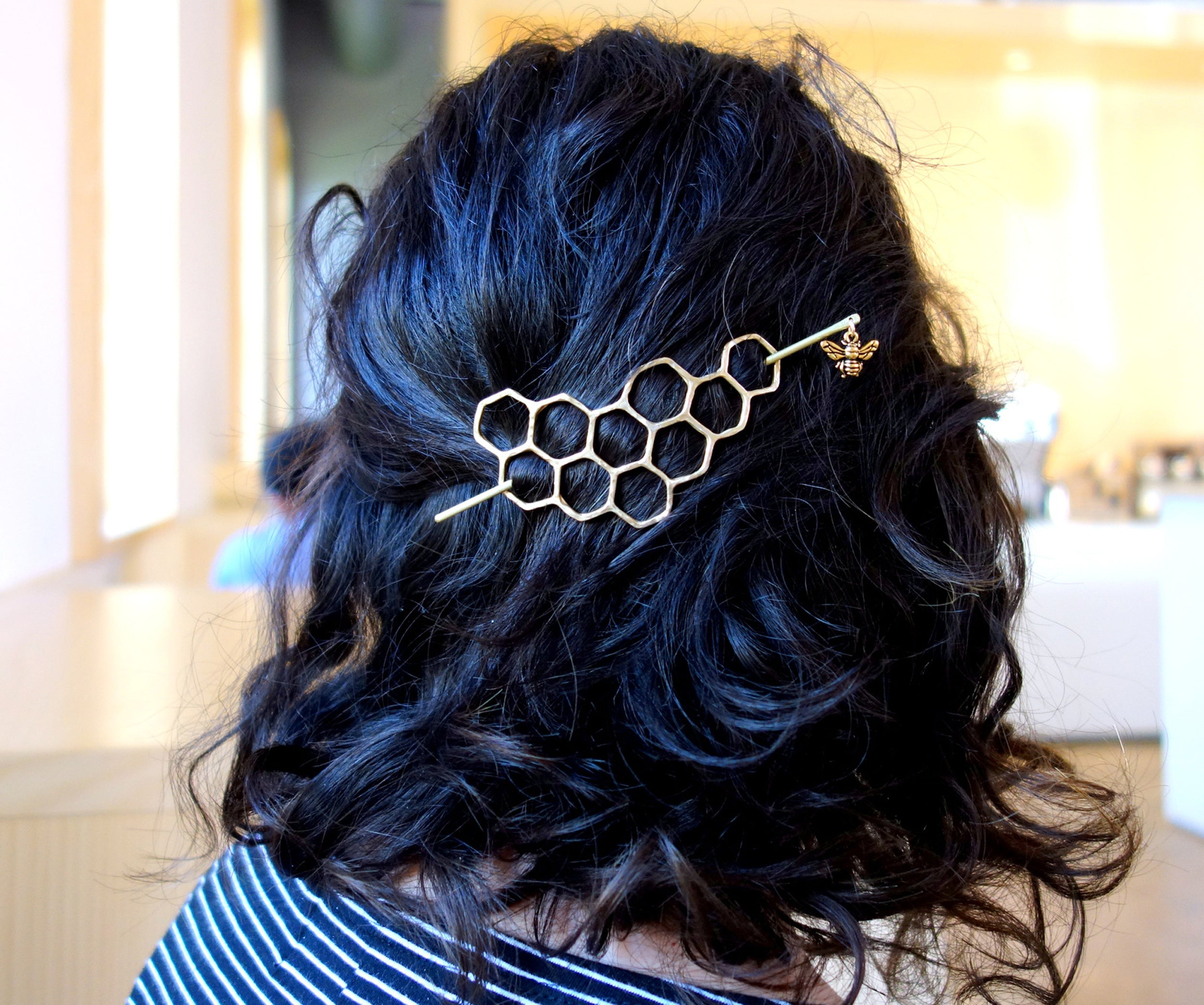 Big Brass Honeycomb Hairslide