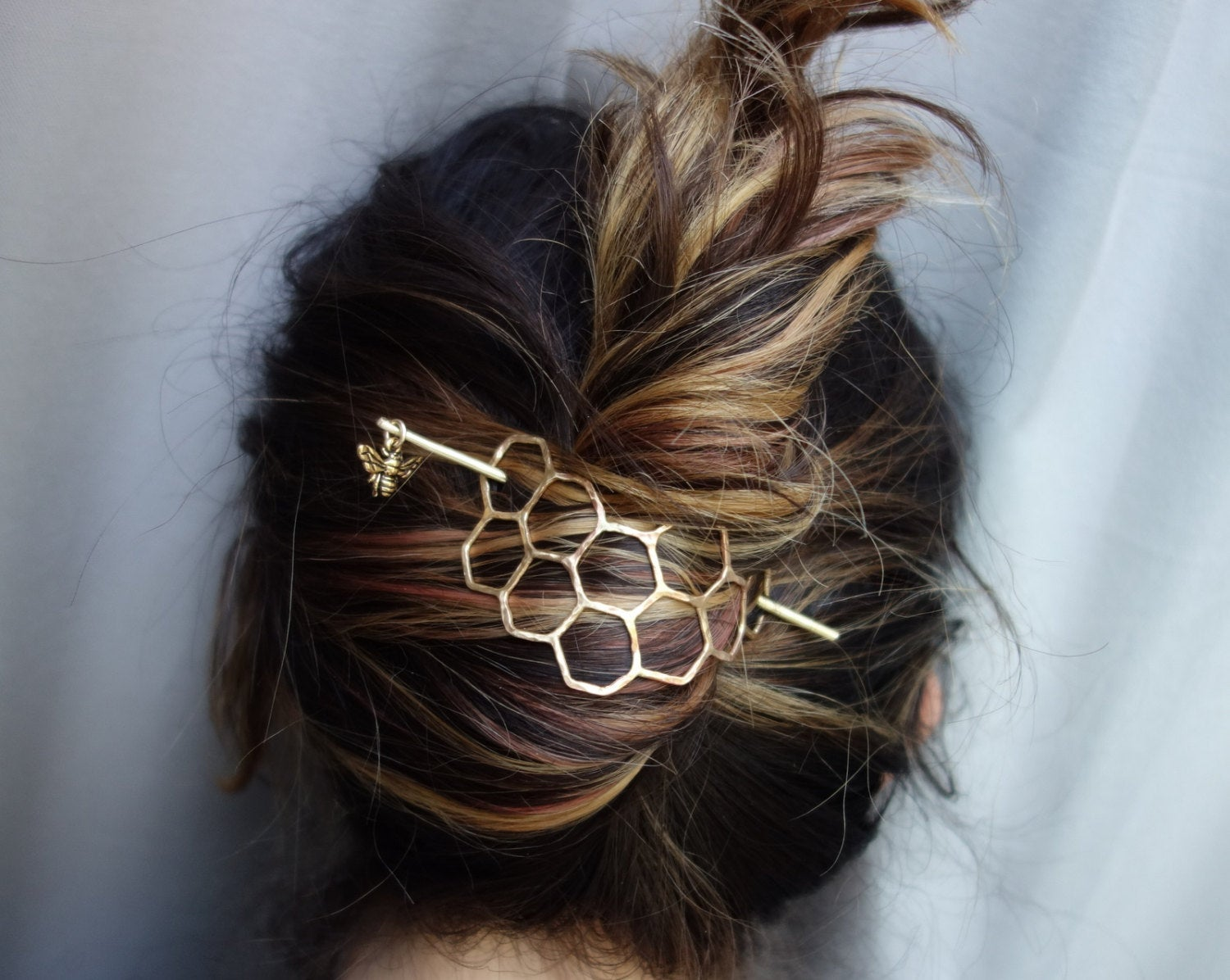 Large Brass Honeycomb Handmade Hair Bun Slide Pin with Dangling Bee Hair Twist Bun Pin