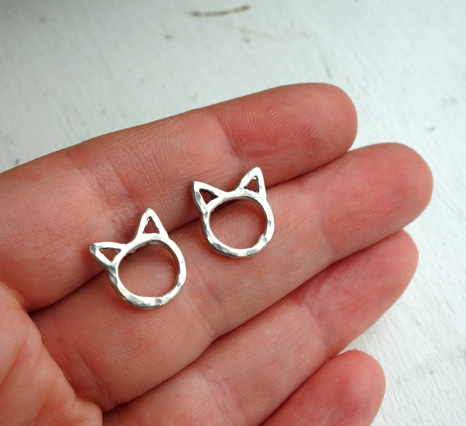 Tiny Cat Studs in Sterling or 14k Gold - Minimalist Cat Earrings Kittens Cat Lady Studs