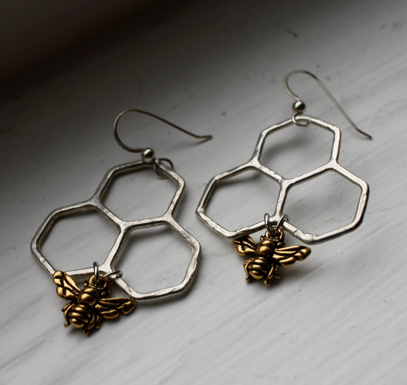 Ready to Ship- Sweet Dangles- Sterling silver handmade honeycomb dangles