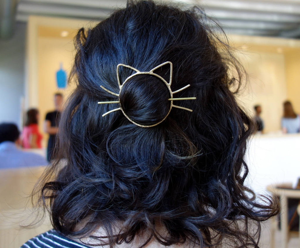 Cat Hair Pin // Bun Holder // Whiskers Hair Slide