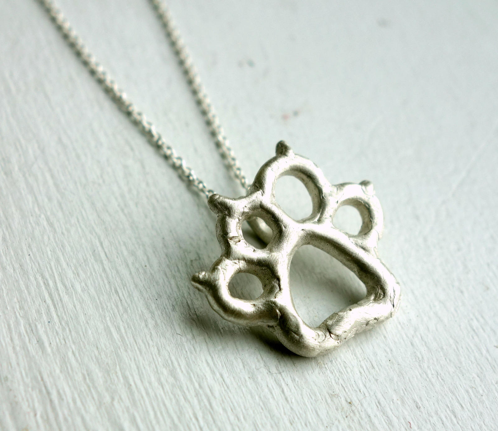 Sterling Silver Handmade Puppy Paw Print Pendant