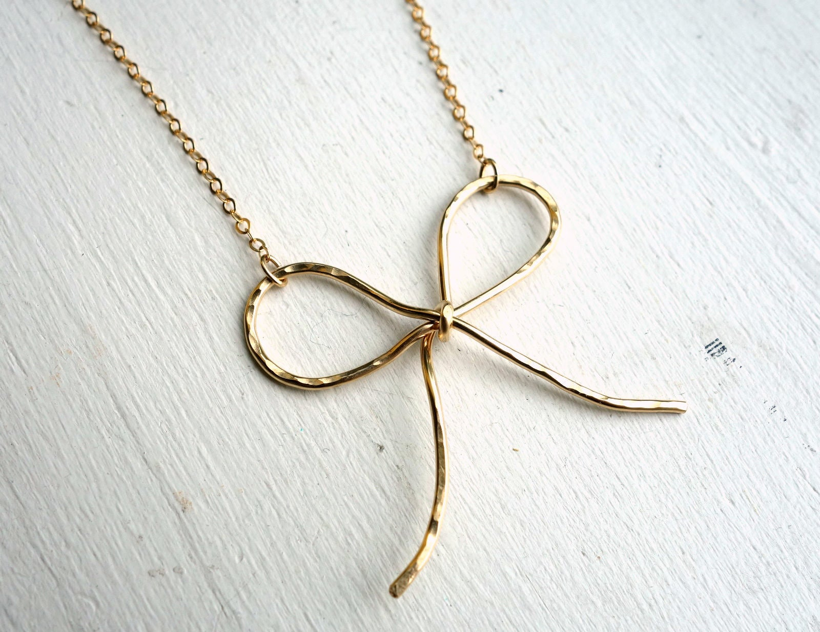 14k Gold Filled Big Bow Necklace Pendant
