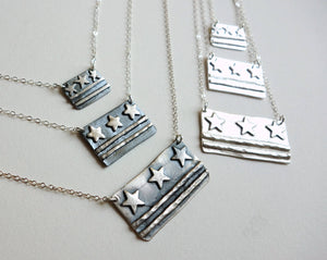 Sterling Silver DC Flag Necklaces - Small, Medium, Large sizes - DC Pride, Made in DC, District of Columbia Flag