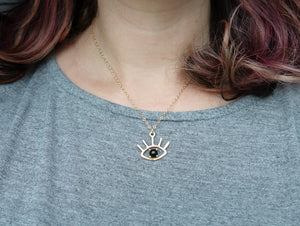 The Beholder - Eye Pendant in Gold with Onyx, Turquoise or Opal